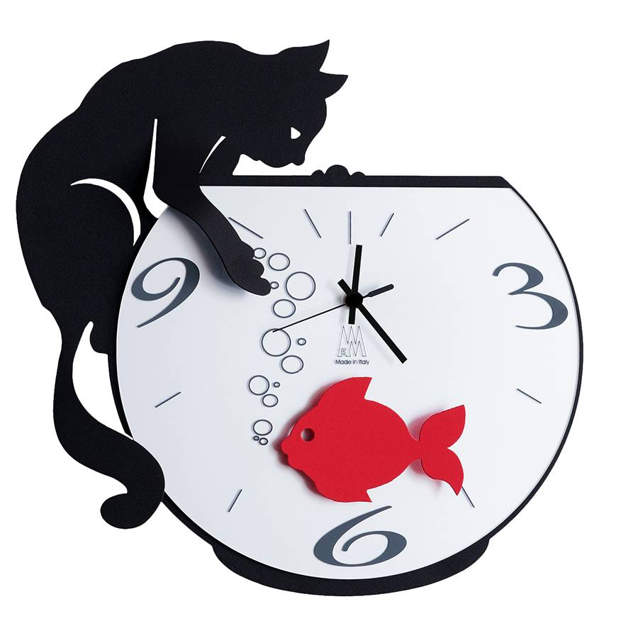 ARTI E MESTIERI orologio da parete TOMMY & FISH (Nero - Metallo e vetro)