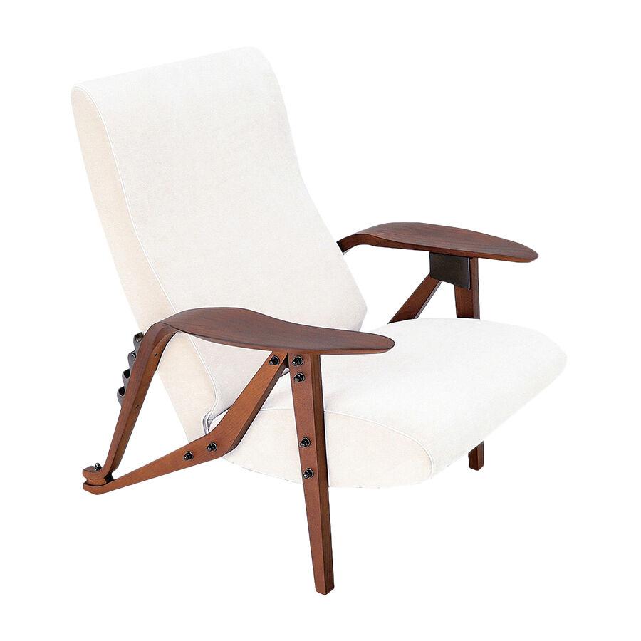 ZANOTTA poltrona reclinabile GILDA (Bianco - Tessuto Teatro 26901 Cat. 30 frassino tinto noce Canaletto)