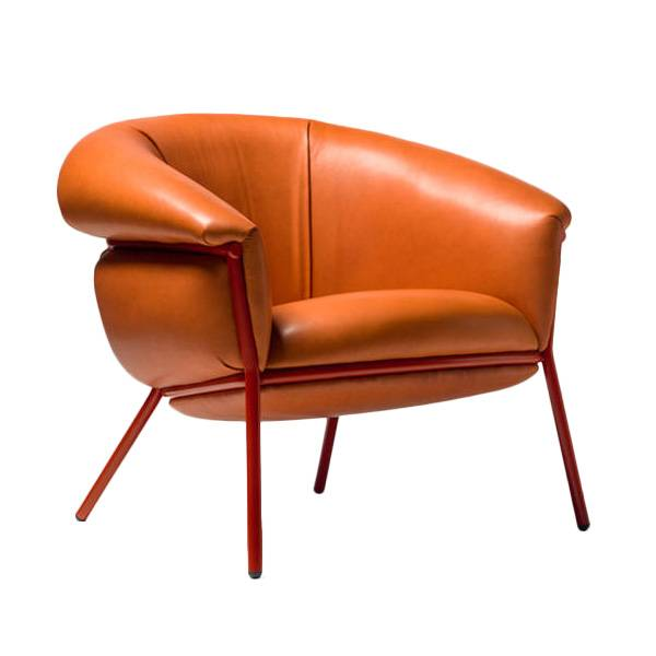 BD BARCELONA DESIGN poltrona GRASSO (Dark Orange F20 e struttura rossa - Pelle Florida Cat. F e acciaio verniciato)