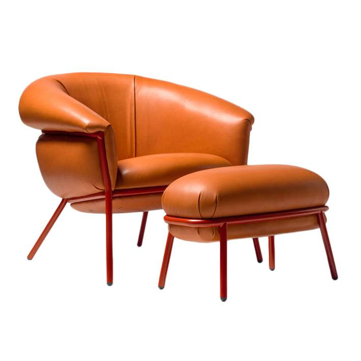 BD BARCELONA DESIGN poltrona con poggiapiedi pouf ottoman GRASSO (Dark Orange F20 e struttura rossa - Pelle Florida Cat. F e acciaio verniciato)