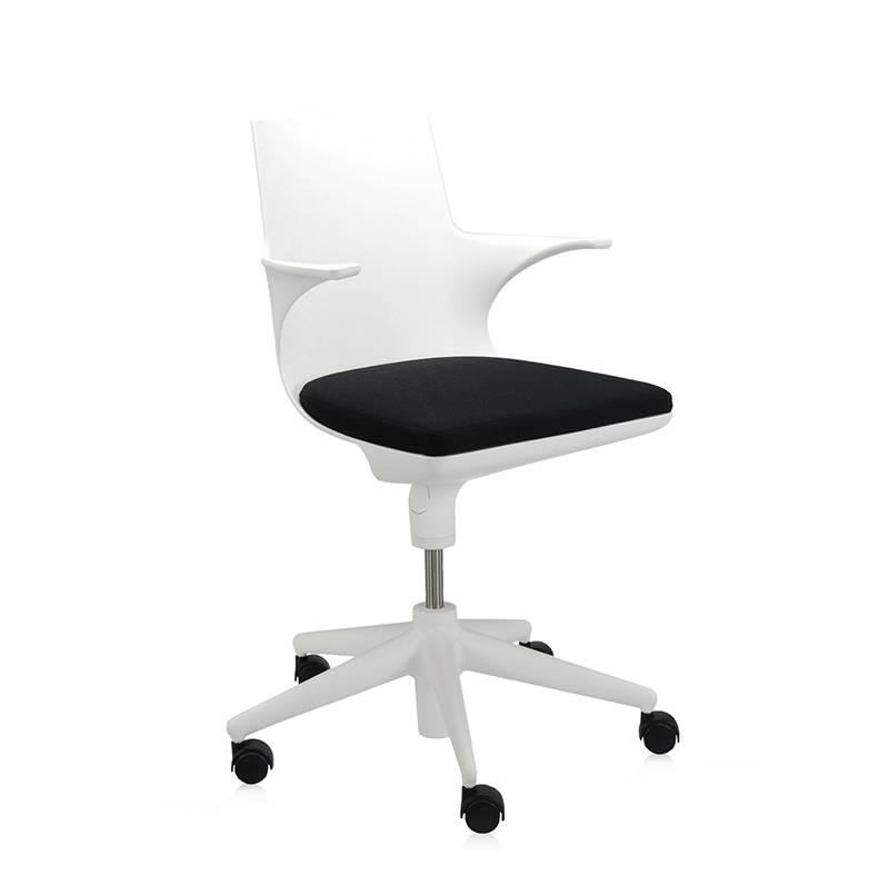 KARTELL sedia da ufficio SPOON CHAIR (Bianco-Nero - Polipropilene colorato in massa)