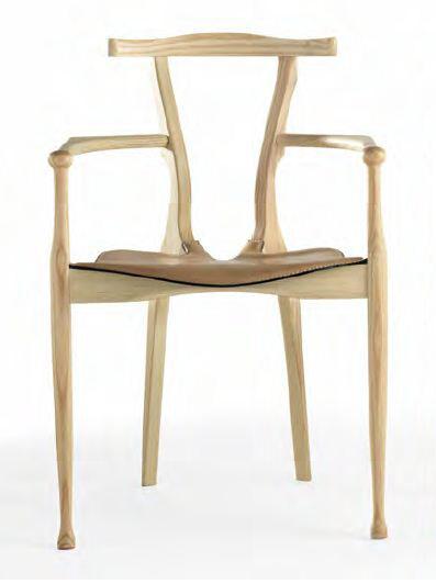 BD BARCELONA DESIGN sedia GAULINO (Naturale, cuscino naturale C13 - Frassino verniciato e cuoio)