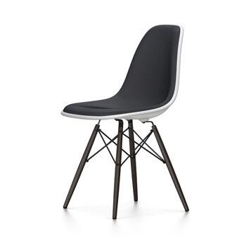 VITRA sedia interamente imbottita con basamento nero Eames Plastic Side Chair DSW NUOVE DIMENSIONI (Bianco, cuscino nero - Polipropilene bianco, [...]