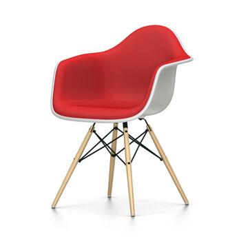 VITRA sedia poltroncina interamente imbottita Eames Plastic Armchair DAW NUOVE DIMENSIONI (Bianco, cuscino rosso/rosso papavero - Polipropilene [...]