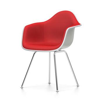 VITRA sedia poltroncina con imbottitura integrale Eames Plastic Armchair DAX NUOVE DIMENSIONI (Bianco, cuscino rosso/rosso papavero - [...]