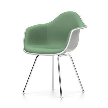 VITRA sedia poltroncina con imbottitura integrale Eames Plastic Armchair DAX NUOVE DIMENSIONI (Bianco, cuscino menta/foresta - Polipropilene [...]