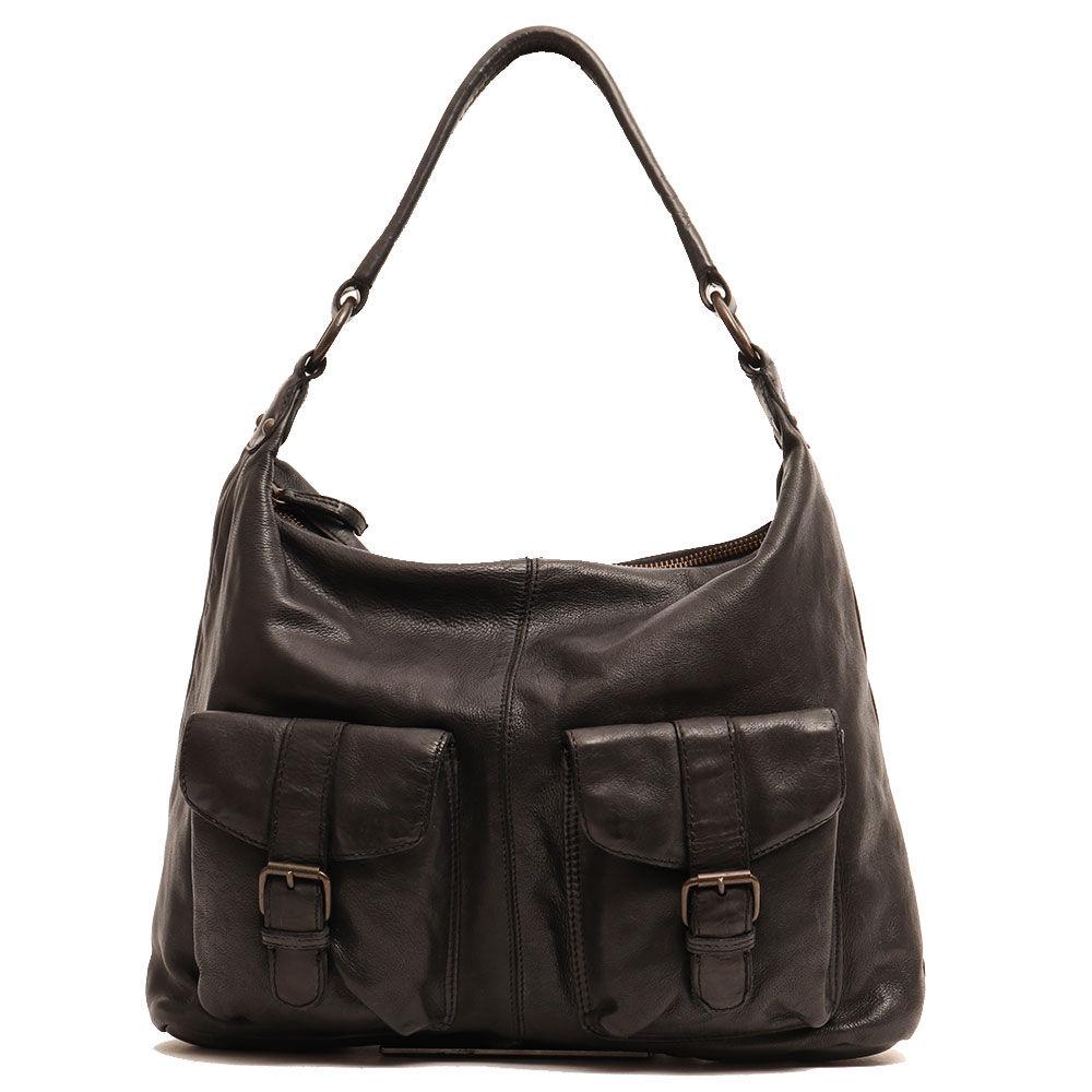 gianni conti borsa donna a spalla con tracolla in pelle nera linea vintage