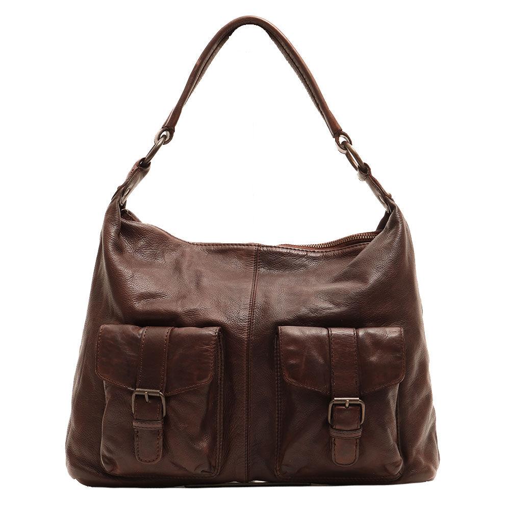 gianni conti borsa donna a spalla con tracolla in pelle marrone linea vintage