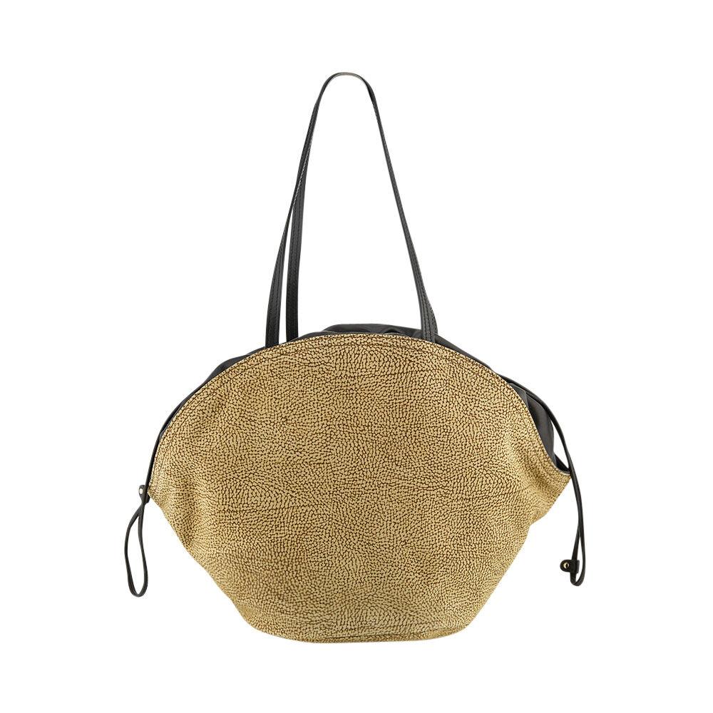 borbonese borsa donna a spalla linea muffin in camoscio colore op naturale
