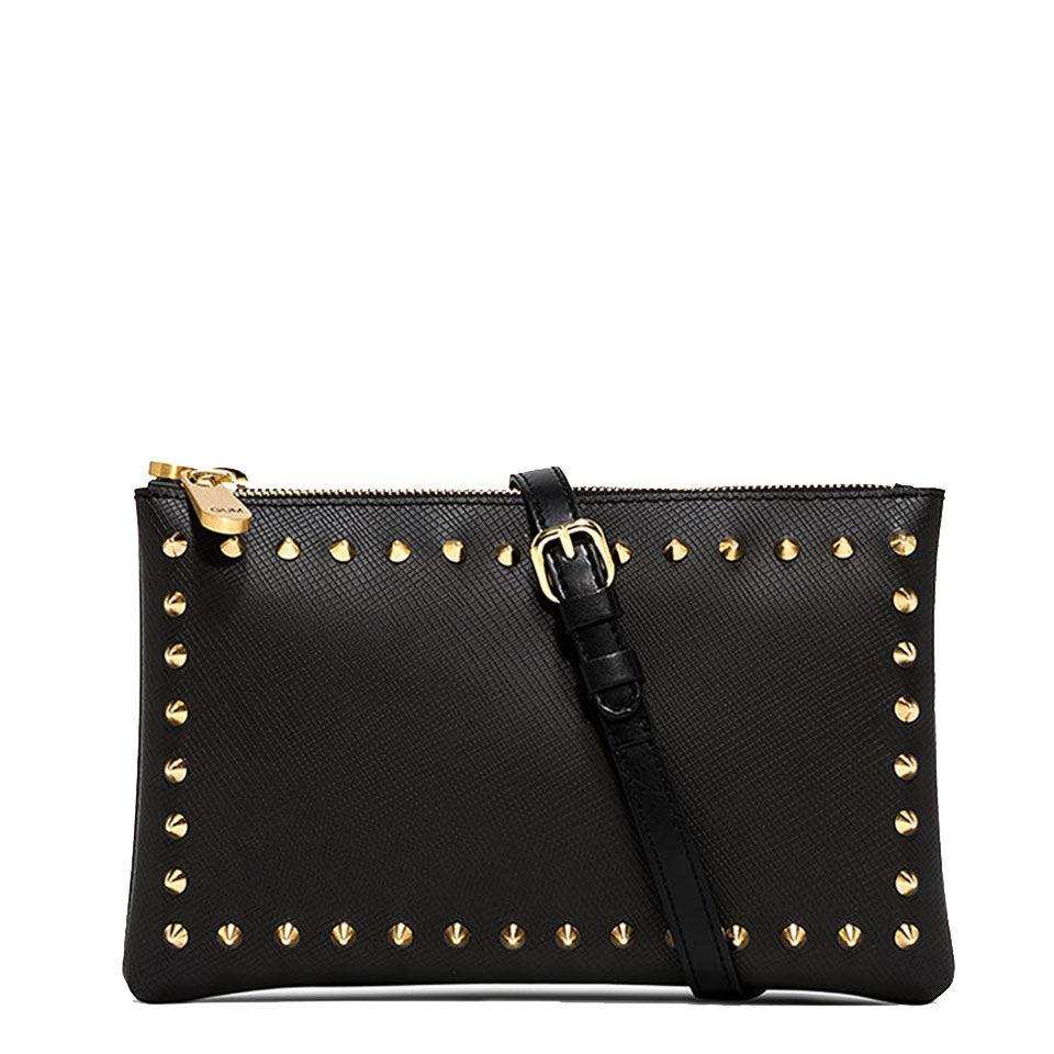 gum pochette donna con tracolla numbers linea satin stud colore nero con borchie oro