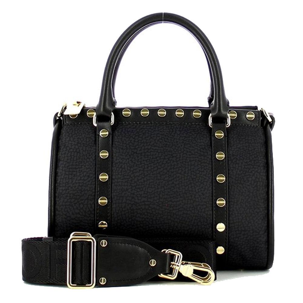 borbonese borsa donna a bauletto linea metro small in tessuto jet op colore nero