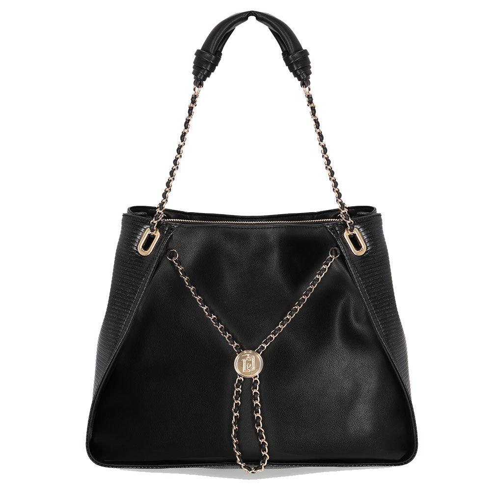 liujo borsa donna due manici a spalla con catena gioiello colore nero