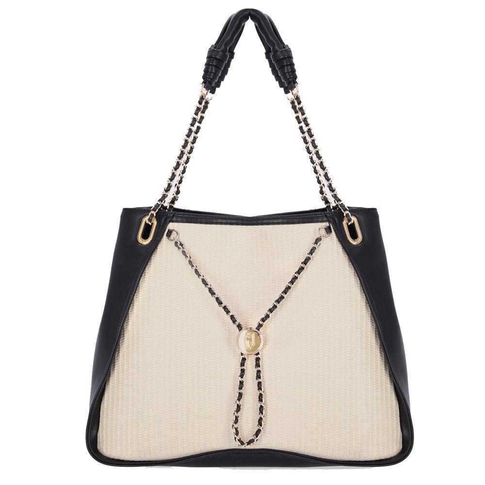 liujo borsa donna due manici a spalla con catena gioiello e inserti effetto paglia colore neutro e nero