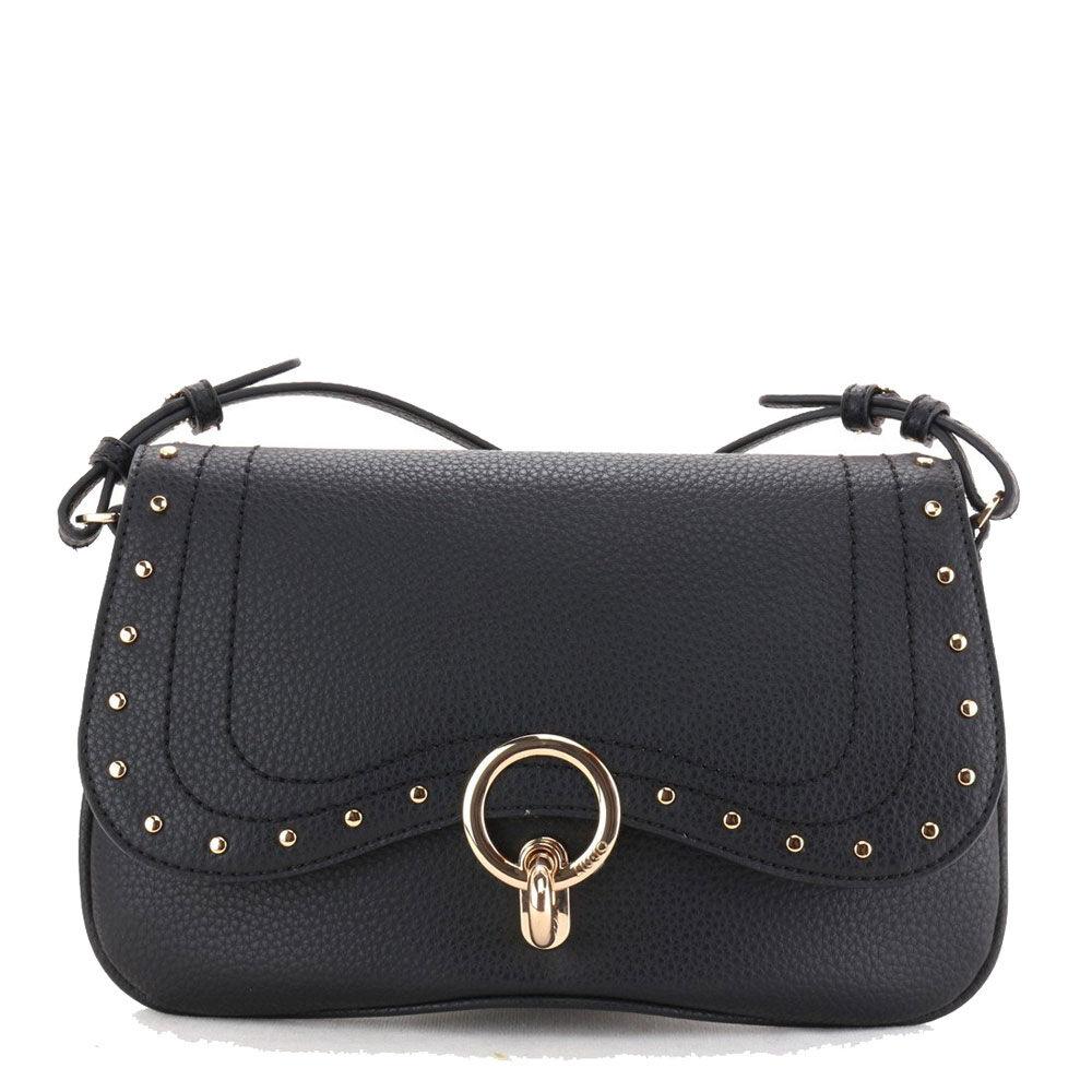 liujo borsa donna piatta a tracolla con occhiello decorativo e borchie colore nero