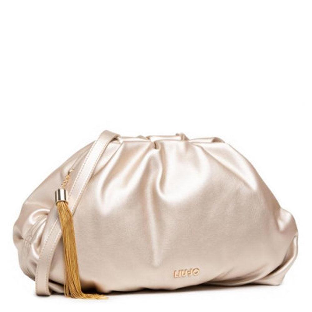liujo borsa donna clutch morbida medium colore light gold con tracolla