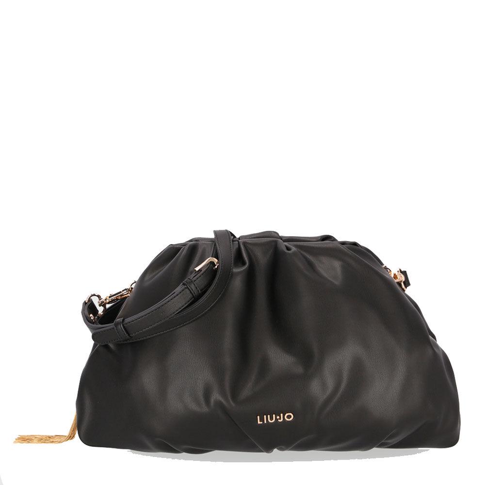 liujo borsa donna clutch morbida medium nera con tracolla