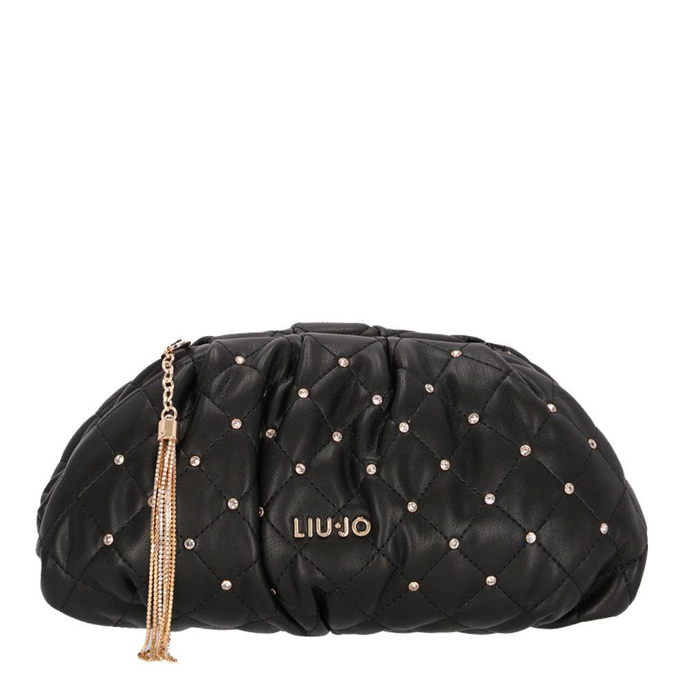 liujo borsa donna clutch morbida effetto matelassè nera
