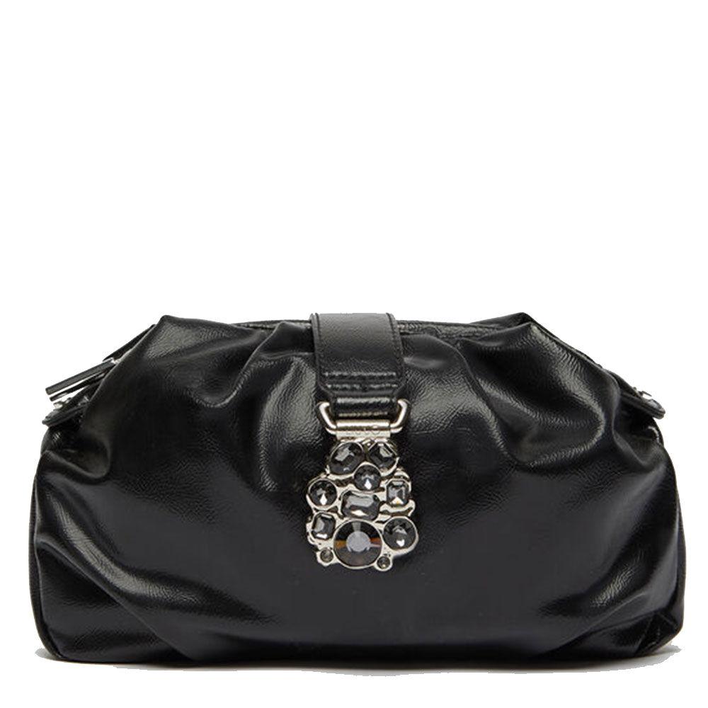 liujo borsa donna clutch morbida nera con dettagli gioiello