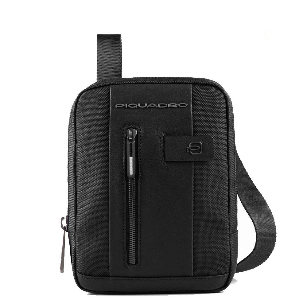 piquadro borsello uomo porta ipad mini linea brief 2 ca3084br2 in tessuto e pelle colore nero