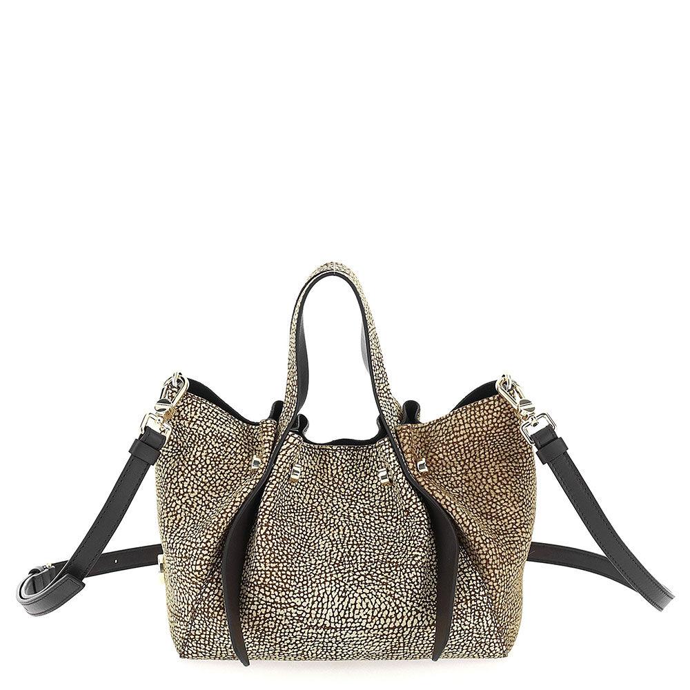 borbonese borsa donna a secchiello linea aspen bag in camoscio naturale e nero