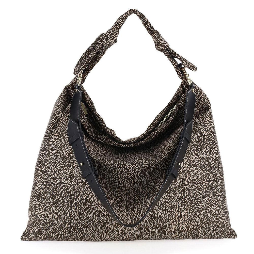 borbonese borsa hobo a spalla grande linea desert in tessuto jet op colore natural black