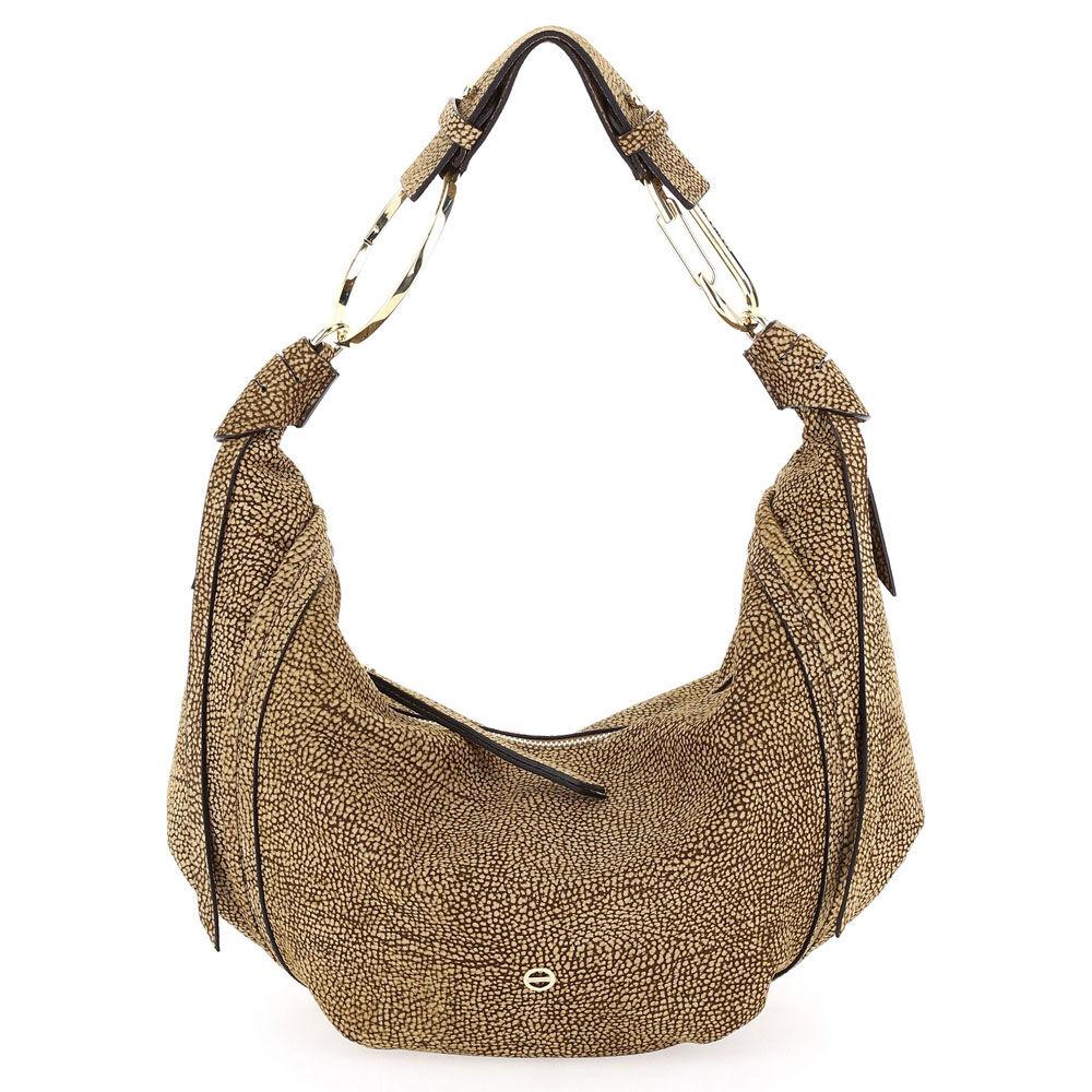 borbonese borsa donna hobo bag medium in tessuto linea orbit colore op naturale