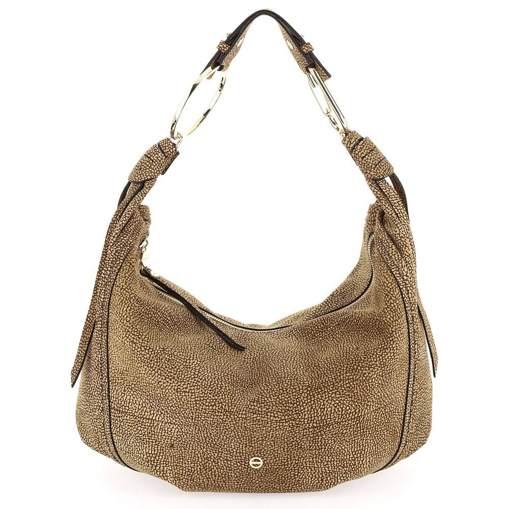 borbonese borsa donna hobo bag large in tessuto linea orbit colore op naturale