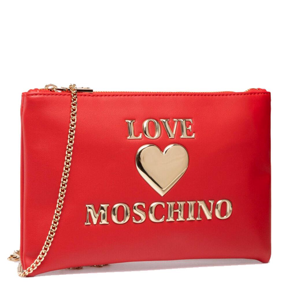 moschino pochette donna con tracolla linea padded heart colore rosso