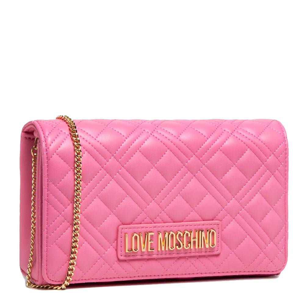 moschino clutch donna con tracolla a catena linea new shiny quilted rosa