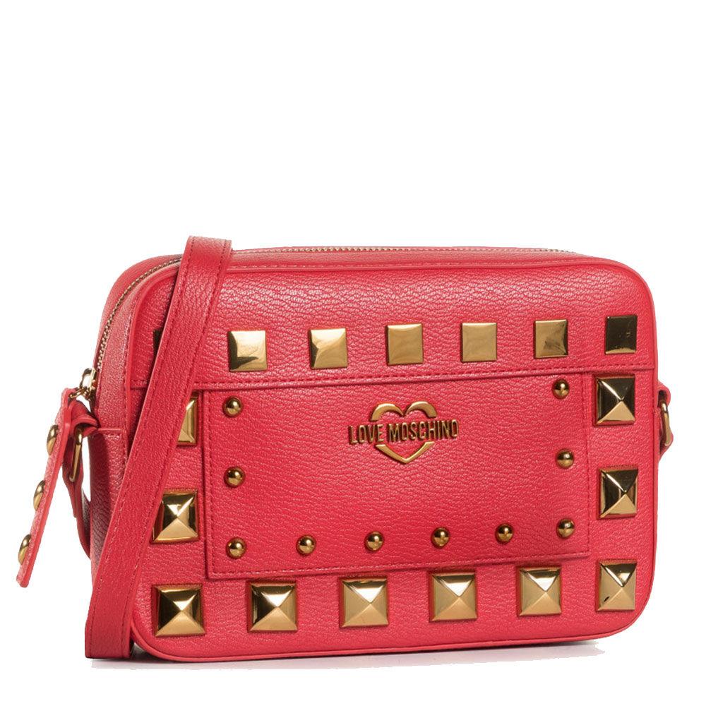 moschino borsa donna a spalla linea square studs rosso con borchie