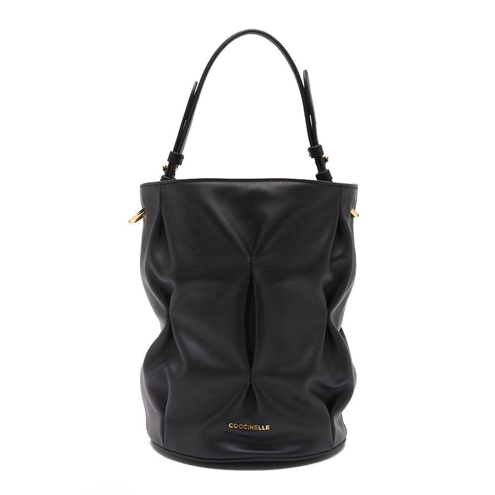 coccinelle borsa donna a secchiello in pelle liscia linea jude goodie colore nero