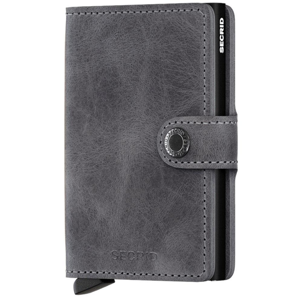 secrid porta carte con clip linea vintage in pelle grey-black con rfid