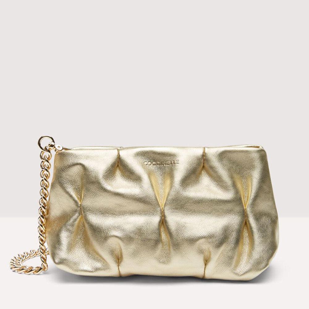 coccinelle pochette donna con doppia tracolla in pelle liscia linea ophelie mini colore shiny gold