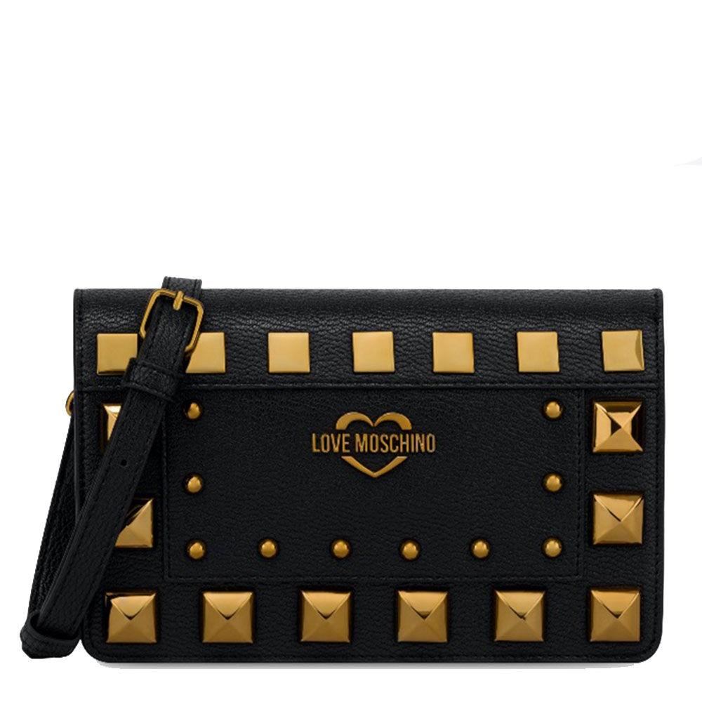moschino borsa donna a tracolla linea square studs nera con borchie