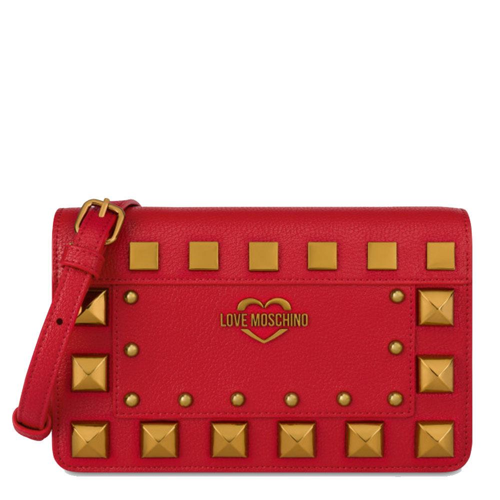 moschino borsa donna a tracolla rosso con borchie