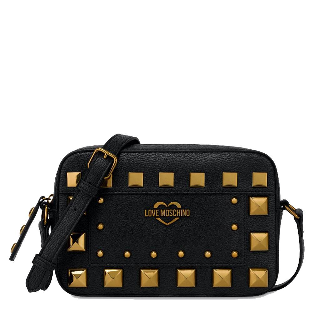 moschino borsa donna a spalla linea square studs nera con borchie