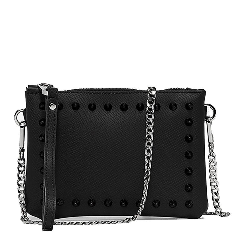 gum pochette donna con tracolla in catena numbers linea satin stud colore nero con borchie nere