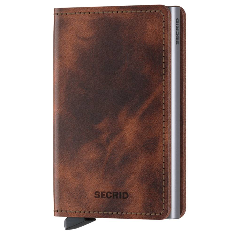 secrid porta carte linea vintage in pelle colore marrone con rfid