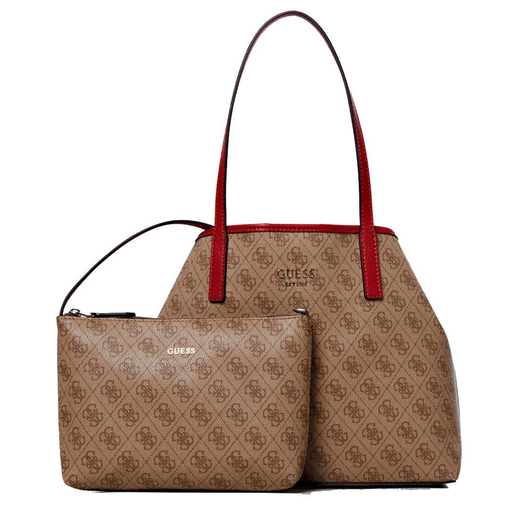 guess borsa shopper a spalla donna modello vikky tote marrone