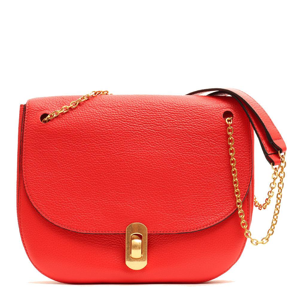 coccinelle borsa donna con tracolla a catena in pelle linea zaniah colore polish red