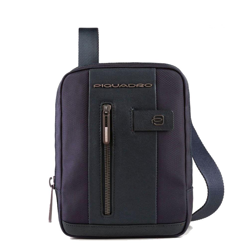 Piquadro Borsello Uomo Porta iPad Mini linea Brief 2 CA3084BR2 in Tessuto e Pelle Blu