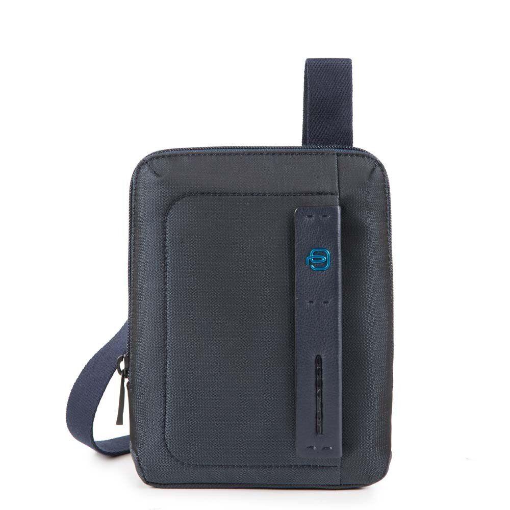 Piquadro Borsello Uomo a Tracolla con porta iPadmini CA3084P16 in Tessuto Chevron Blu