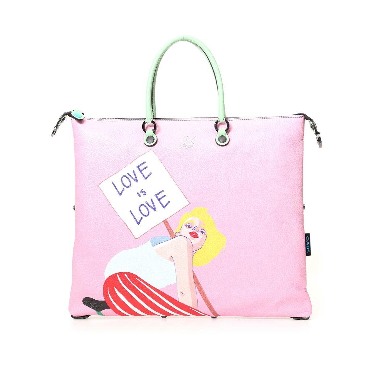 Gabs Borsa Donna a Mano G3 Super Trasformabile in Pelle stampa Love is Love Medium