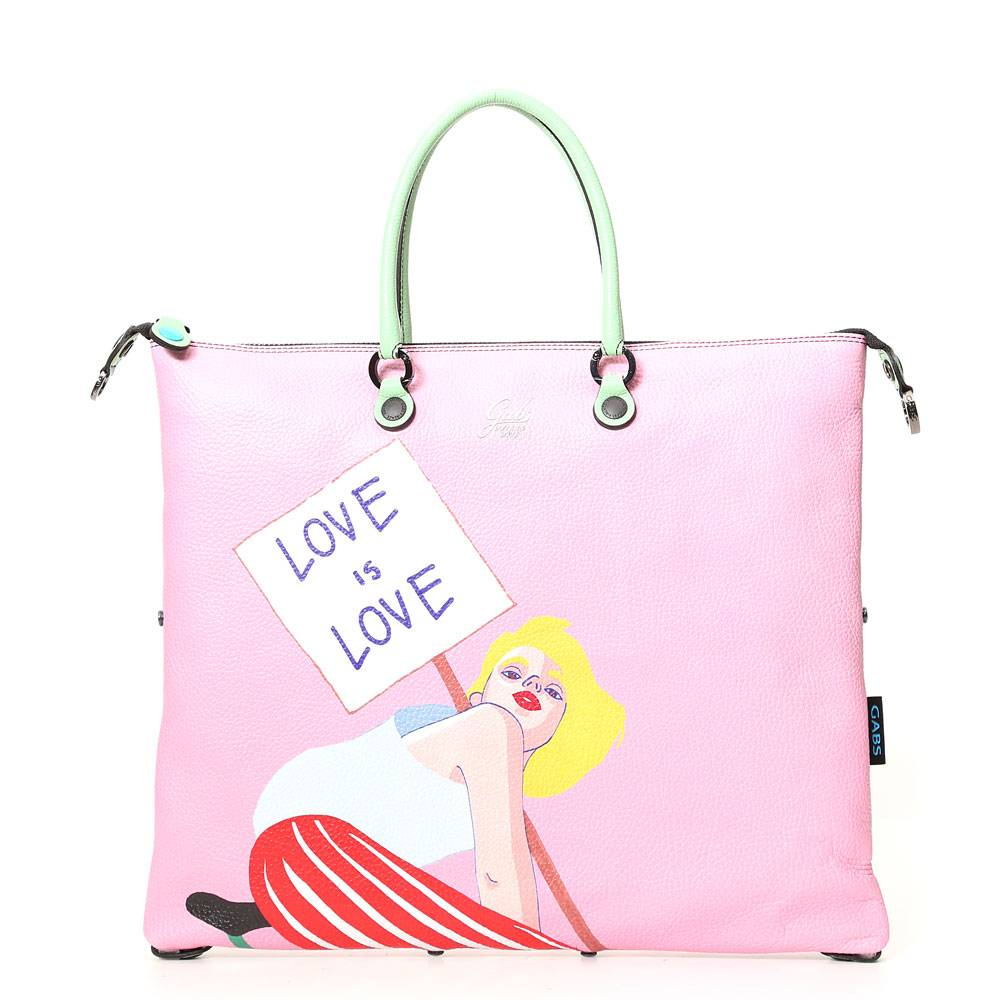 Gabs Borsa Donna a Mano G3 Super Trasformabile in Pelle stampa Love is Love Large