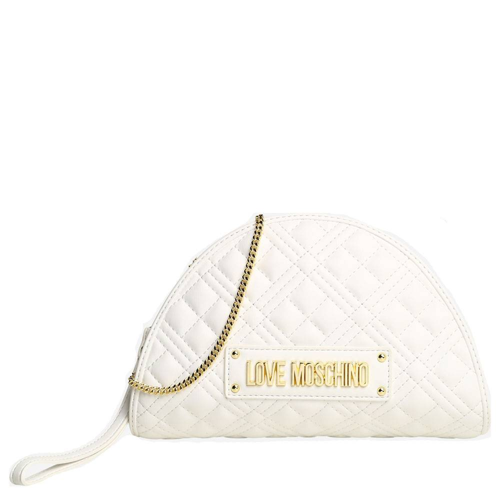 Moschino Borsa Donna Clutch con Tracolla linea New Shiny Quilted Bianco