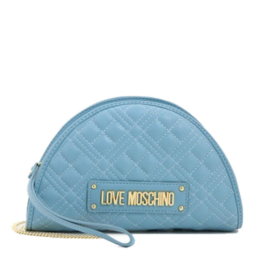 Moschino Borsa Donna Clutch con Tracolla linea New Shiny Quilted Azzurro