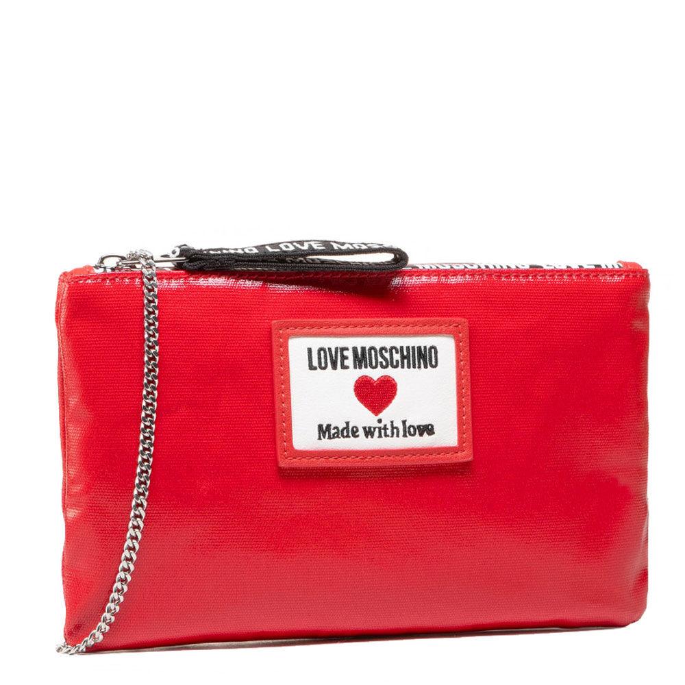 Moschino Pochette a Mano in Canvas Lucida linea Sporty Label colore Rosso