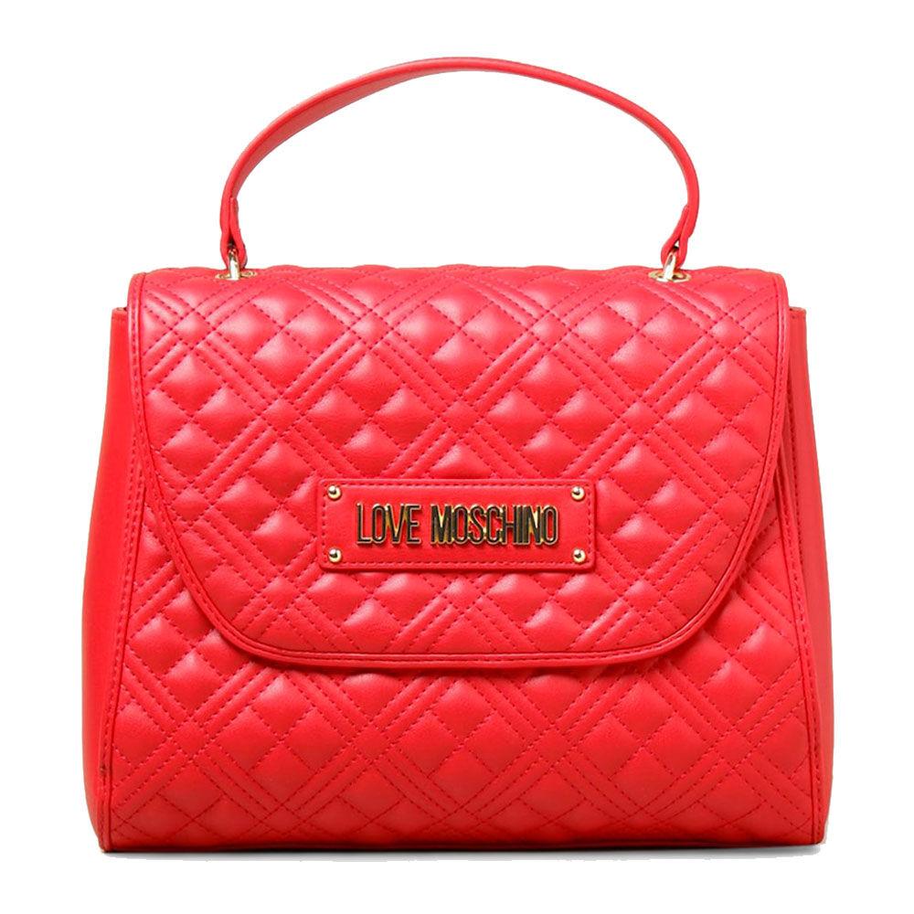 Moschino Borsa Donna a Mano con Tracolla effetto Trapuntato con Logo Colore Rosso