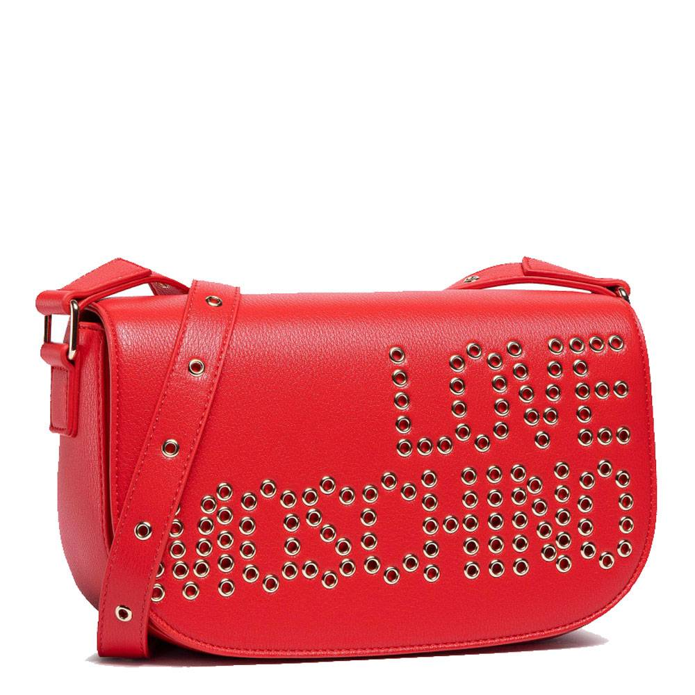 Moschino Borsa Donna a Tracolla Rosso con Logo Borchiato