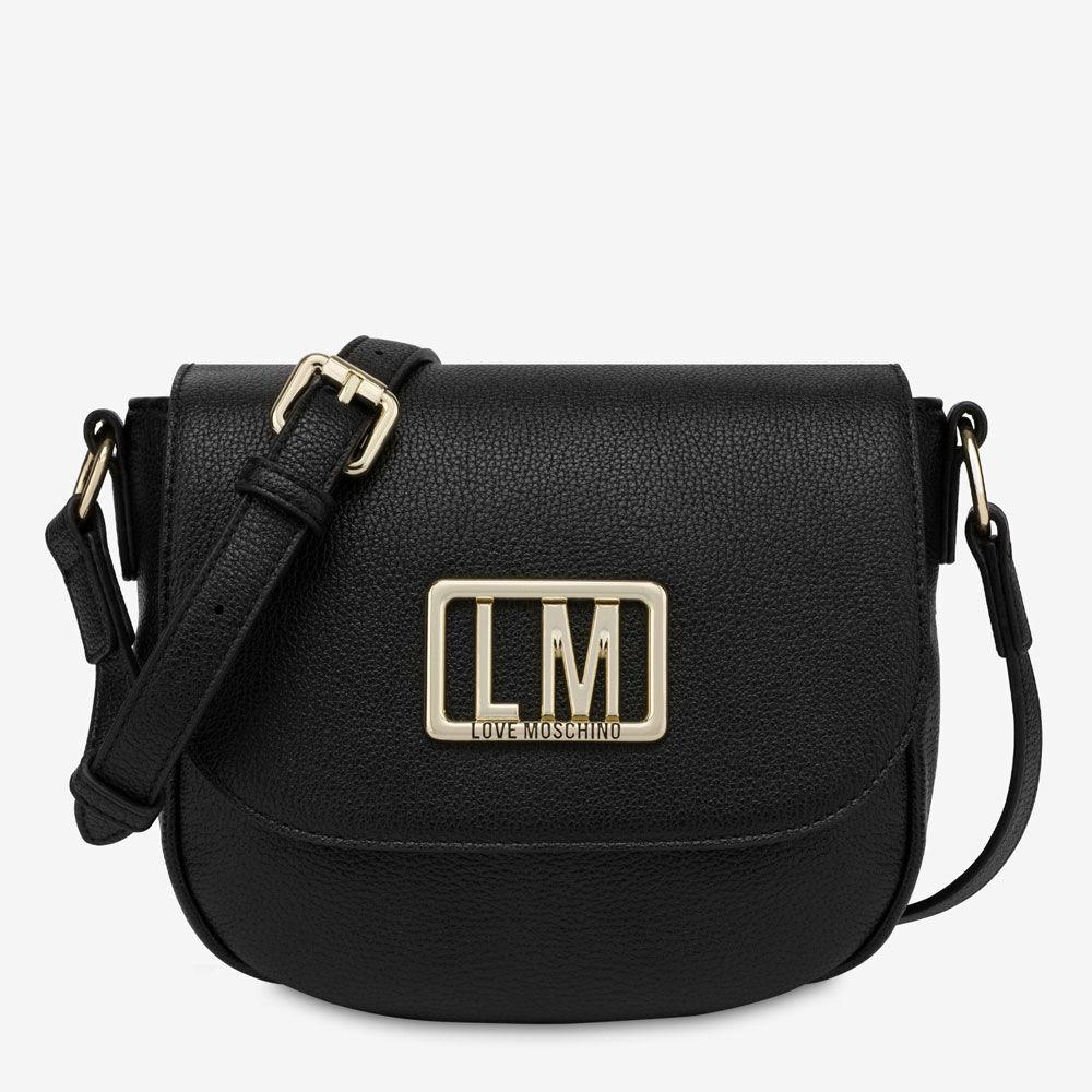 Moschino Borsa Donna a Tracolla con Pattina con Logo LM colore Nero